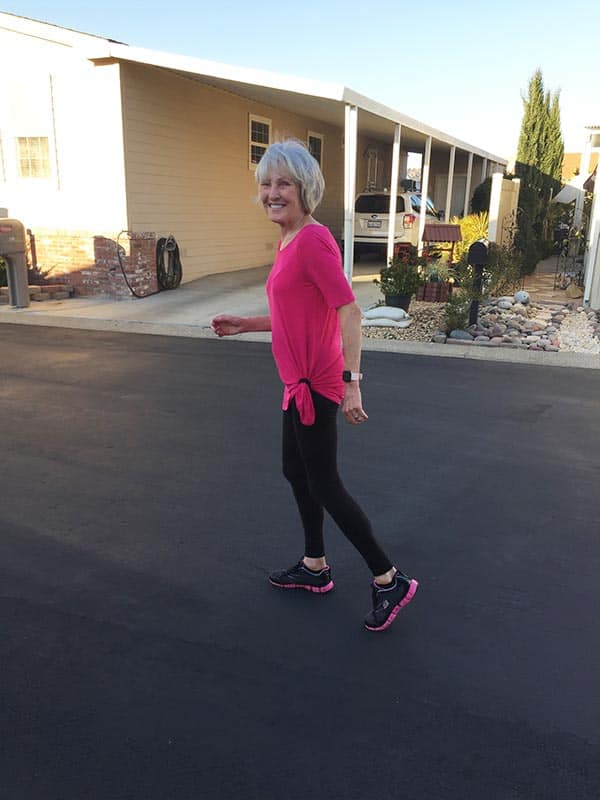 Joannie going on a walk